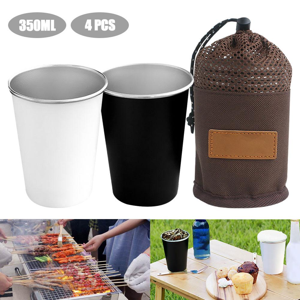 4PCs Camping Cup 304 Stainless Steel Cups Set 350ml for Outdoor Barbecue Party #20
