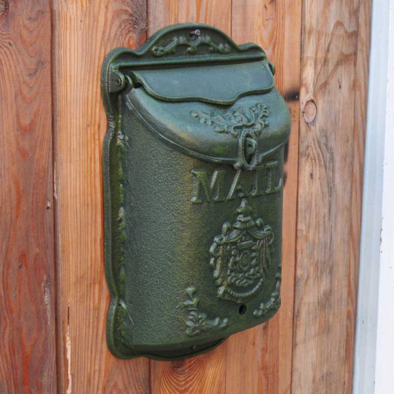 Сельских Стиль чугунный почтовый ящик настенный металлический почтовый ящик газета письмо почтовый ящик украшения сада квартира почтовый ящик HW008