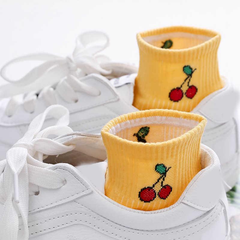 Haute qualité populaire 1 paire mignon femmes printemps filles confortable fruits imprimé vente chaude bateau chaussettes coréen automne coton 2018 nouveau