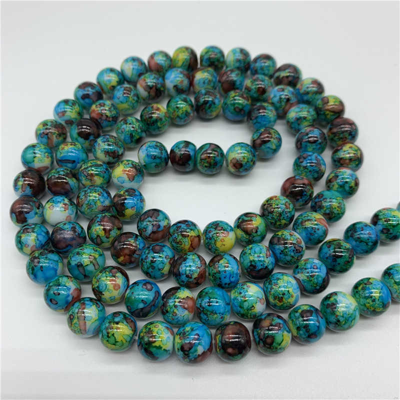 4/6/8/10mm Double Colors Glass Beads Round Loose Spaced Beads For Jewelry Making DIY Charms Jewelry Beads YBP308