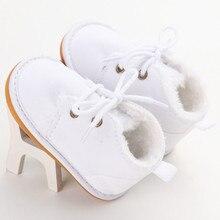 Брендовые повседневные Зимние ботиночки на меху для новорожденных девочек и мальчиков, зимняя теплая обувь с ремешками для маленьких детей 0-18 месяцев