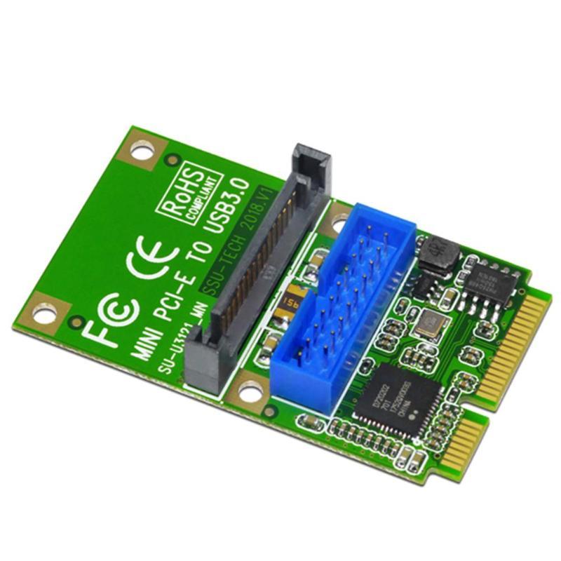 MINI PCI-e a USB3.0 tarjeta de adaptador MINI PCIE to19-pin 20pin USB 3,0 Tarjeta de expansión con 15pin SATA puertos de alimentación para PC de escritorio