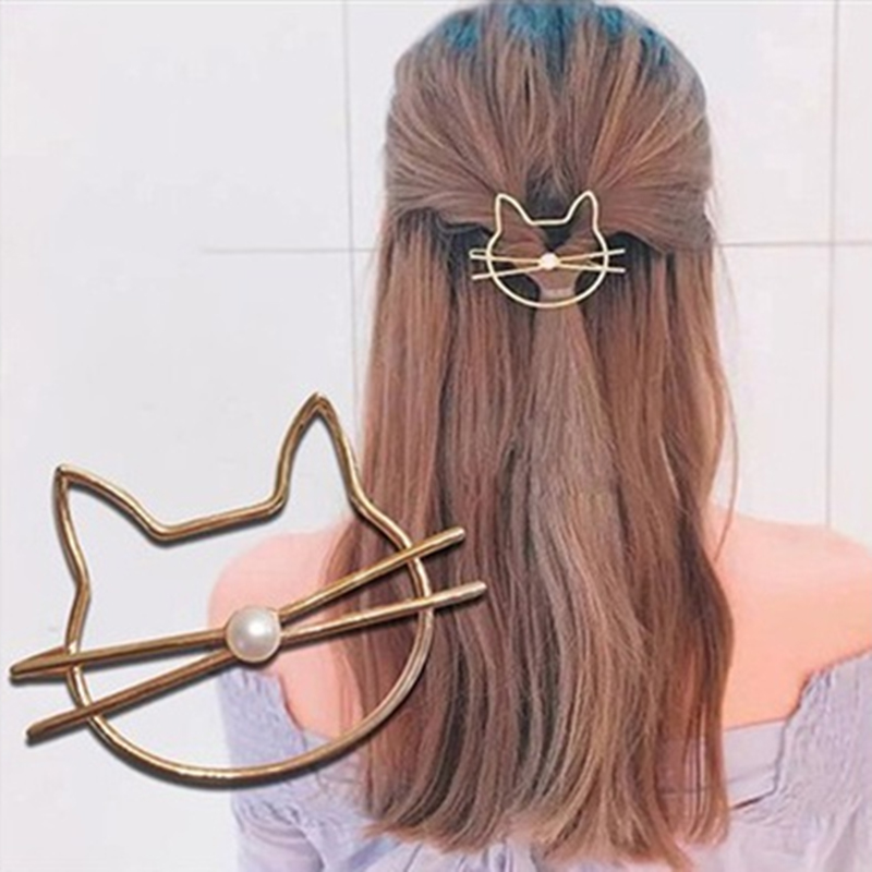 Beauty Cat Shape Women Girl's Animal Shape Pins Fashion Hair Grips Hair Accessories Styling Tools