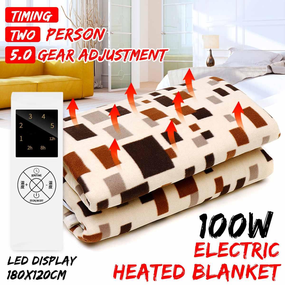 180*120cm  Electric Blanket Mat Waterproof Electric Heated Blanket 100W 5 Gear Timing Function Electrical Heater Heating Carpet