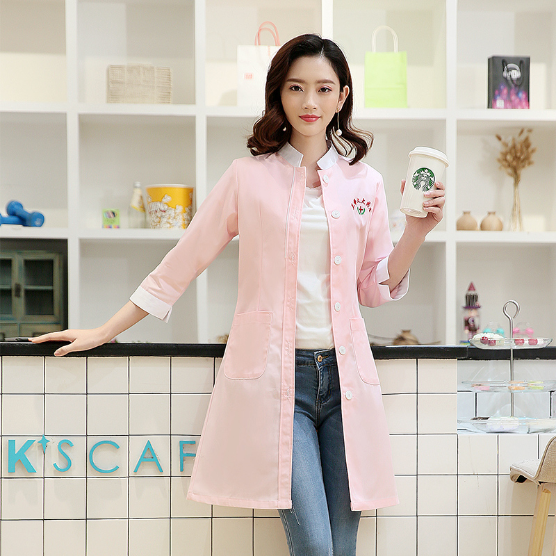 2019 New Style Korean Doctors White Coat Sleeve Clothing Elegant Fashion Female Nurse, Beauty Salon Overalls
