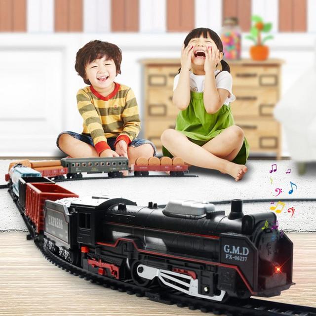 Trilho de Trem elétrico de Brinquedo Com Luz e Som Para Crianças de Simulação De Clássico Pequeno Trem de Brinquedo Modelo de Montagem DIY Modelo de Pista