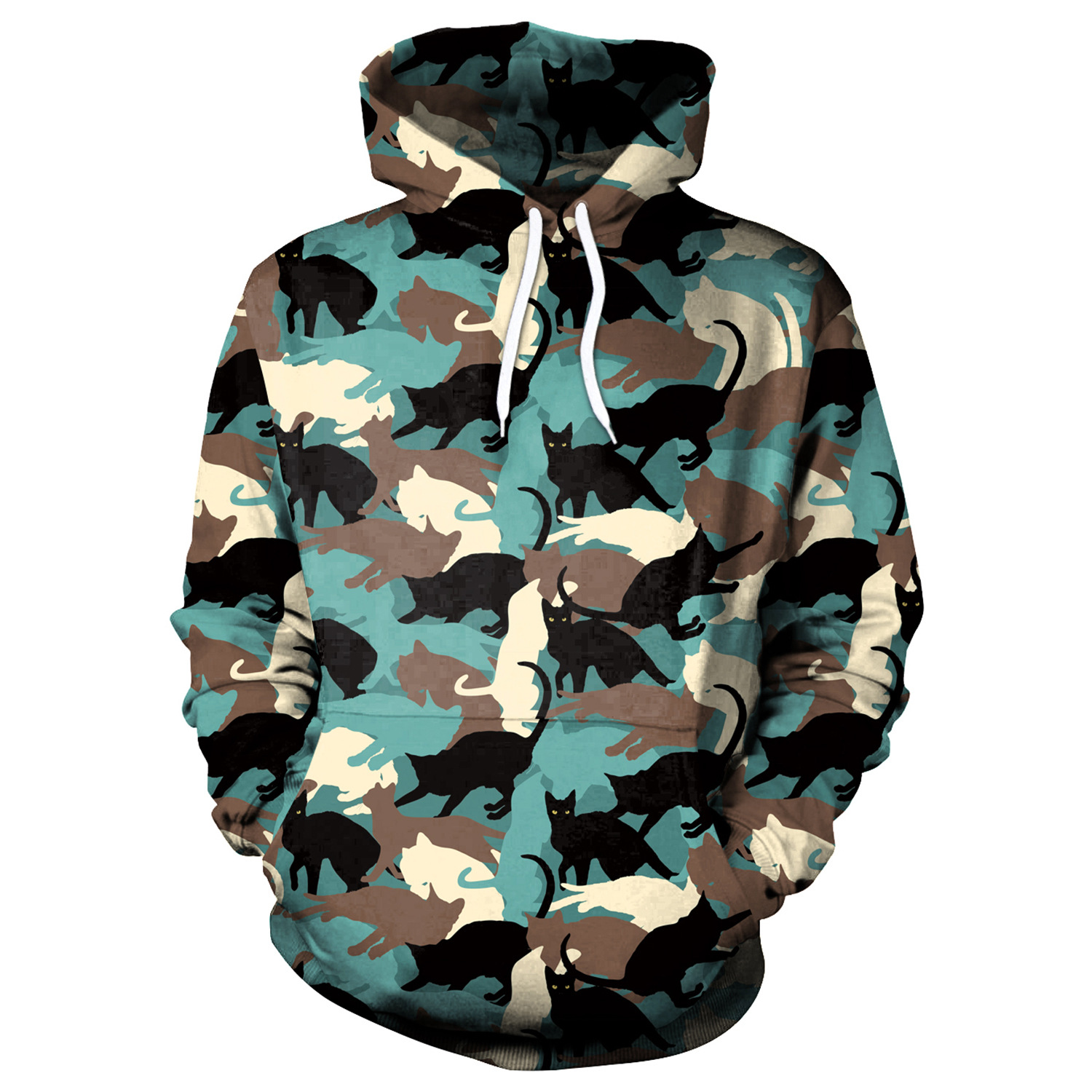 Hoodies Camouflage Cat Print Hoodies With Hat Women Hoodie Loose Sweatshirt Pullover Sudaderas Mujer Moletom