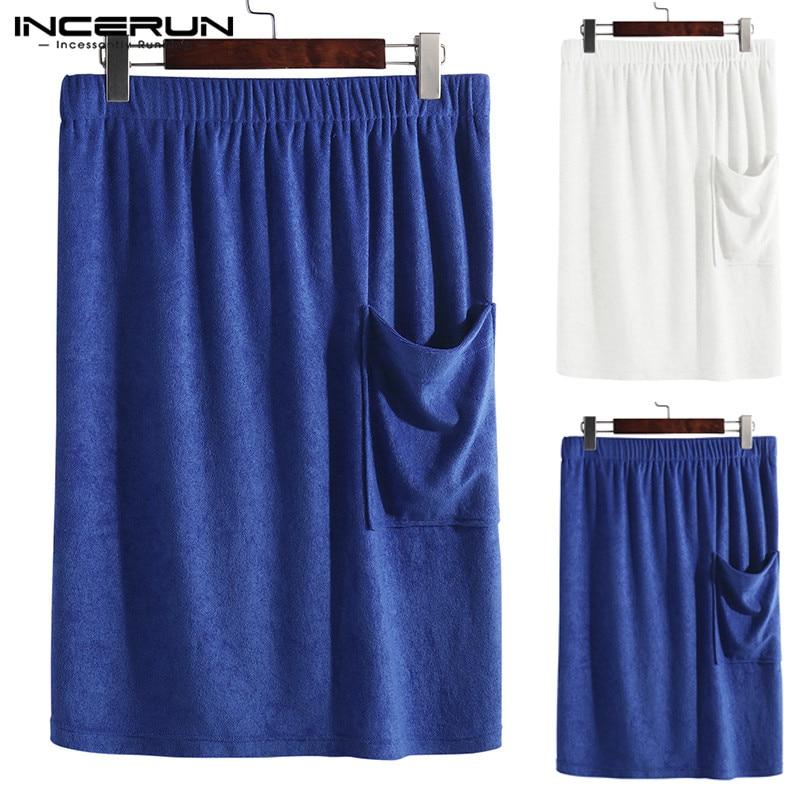 Fashion Bath Men Towel Skirts Pockets Solid Soft Blanket Elastic Waist Beach Male Bath Skirts Bathrobes Big Size 5xl Incerun Elegant Appearance Underwear & Sleepwears Men's Sleep & Lounge