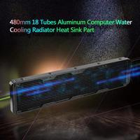 480mm 18 Tubes Aluminum Computer led CPU Water Discharge Liquid Heat Exchanger G1/4 Thread Radiator Aluminum Straight Cooling