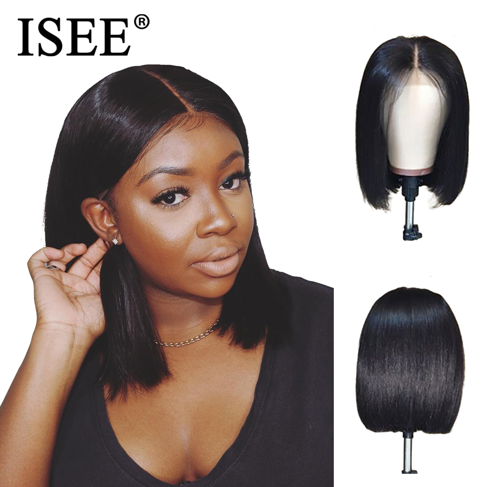 13X4 Bob Lace Front Human Hair Wigs Pre Plucked Hairline Bleached Knot ISEE HAIR Remy Brazilian Straight Short Human Hair Wigs