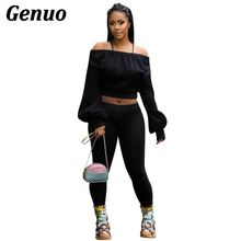 Genuo Women Tracksuit Off Shoulder Long Sleeve Sweatshirt Hoodies Crop Top + Fitness Pants Suit Casual Two Piece Set Outfit