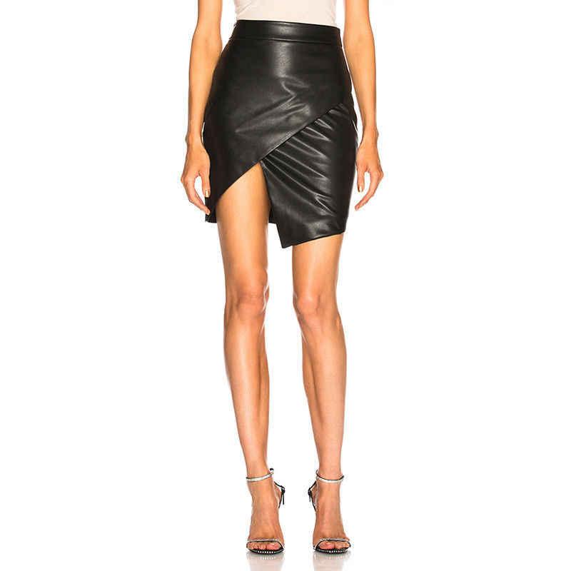 144a0448cf ... Fashion Casual Women Ladies Leather Bodycon Pencil Stretch High Waist  Tight Clubwear Short Mini Skirts Black ...