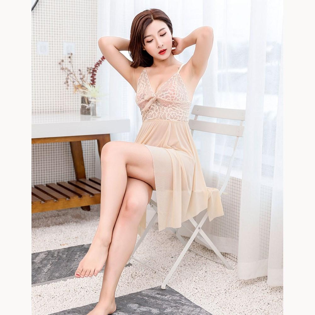 Fashion Women Summer Lace Sleepwear Dress Sexy Strap Bow   Nightgown   Night Dress