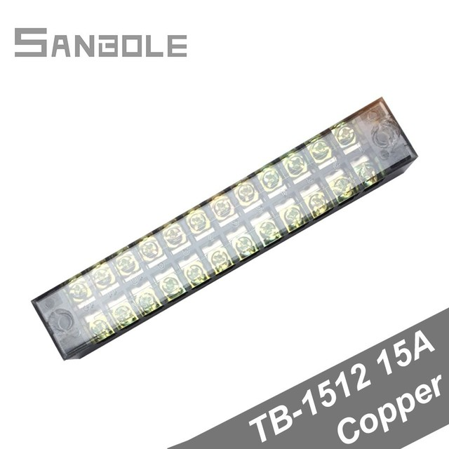 Terminal Block TBC-1512/TB-1512 Dual Row Fixed Type 15A 600V 12 Position 0.5-1.5mm2 Connection Electrical Copper