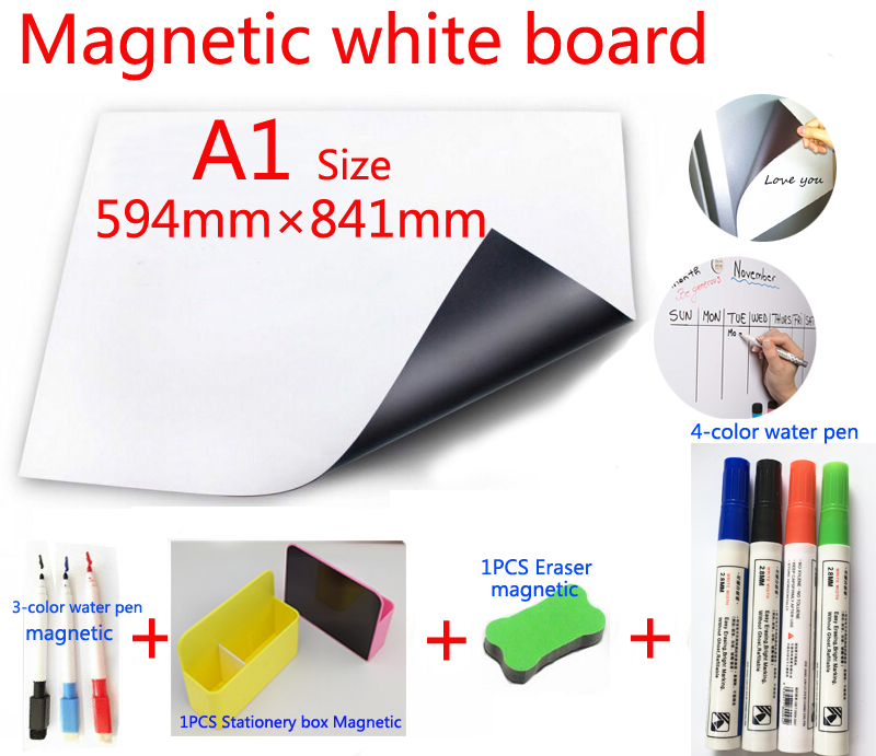 A1 Magnetic White Board And Magnetic Stationery Storage Box 1 Eraser 4 Color Watercolor Pen 3 Magnetic Marker Pen Memo Boards