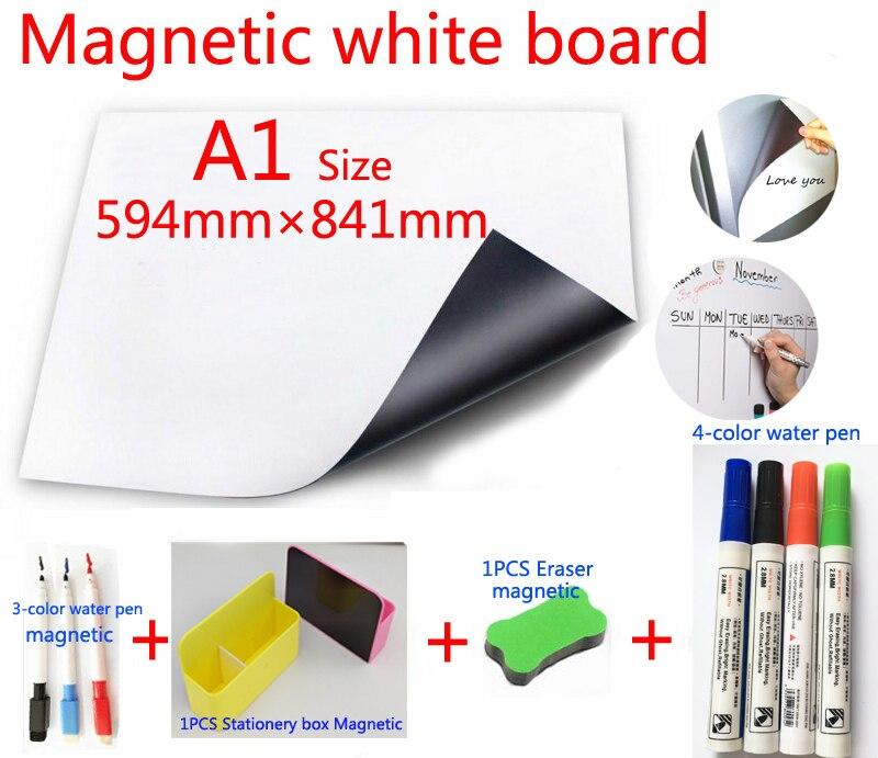 A1 tableau blanc magnétique et boîte de rangement magnétique papeterie 1 gomme 4 couleurs aquarelle stylo 3 marqueur magnétique mémo planches
