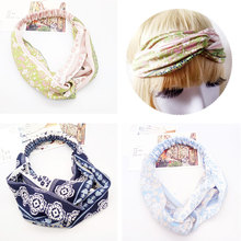 Women Girls Summer Bohemian Hair Bands Print Headbands Retro Cross Turban Bandage  HairBands Hair Accessories Headwrap цена и фото