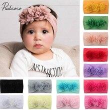 Новинка года, брендовая Кружевная повязка на голову с цветами для маленьких девочек, повязка для волос с бантиком, аксессуары, однотонный головной убор ободок, реквизит для фотосессии, подарки