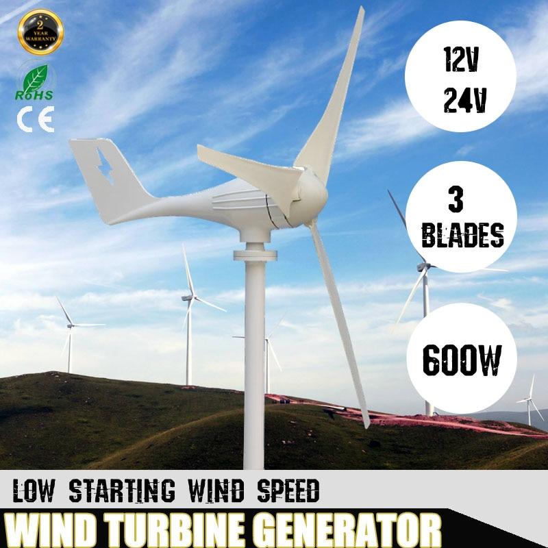 600 W 3 Blanc Nylon Fiber Lames Éoliennes Horizontales Générateur Alimentation Moulin À Vent D'énergie Chargeur Tension Kit 12 V 24 volts