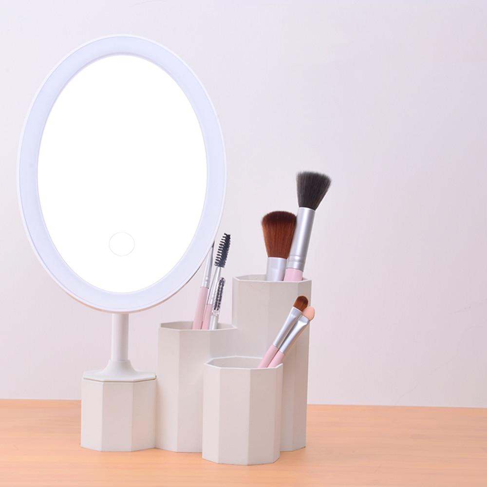 Dynamisch Led Kosmetik Spiegel Mit Lagerung Basis Organizer Arbeit 5 Stunden Gerade Helligkeit Einstellbar Schönheit Make-up Spiegel Tabletop Spiegel Modischer In Stil;
