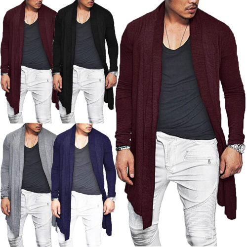 Outwear Coat Knitted-Cardigan Open-Trench Long-Sleeve Autumn Men's Casual Winter Fashion