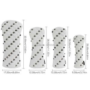 Image 2 - Golf Headcovers Rivets PU Leather Golf Head Covers For Driver Fairway #3 #5 Hybrids Rescue Woods Clubs For Men Women