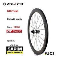 700C Велосипедное колесо Sapim CX Ray говорил с 60 мм 6 к Twill матовый обод DT Swiss 350 углеродное волокно колесная пара велосипеда