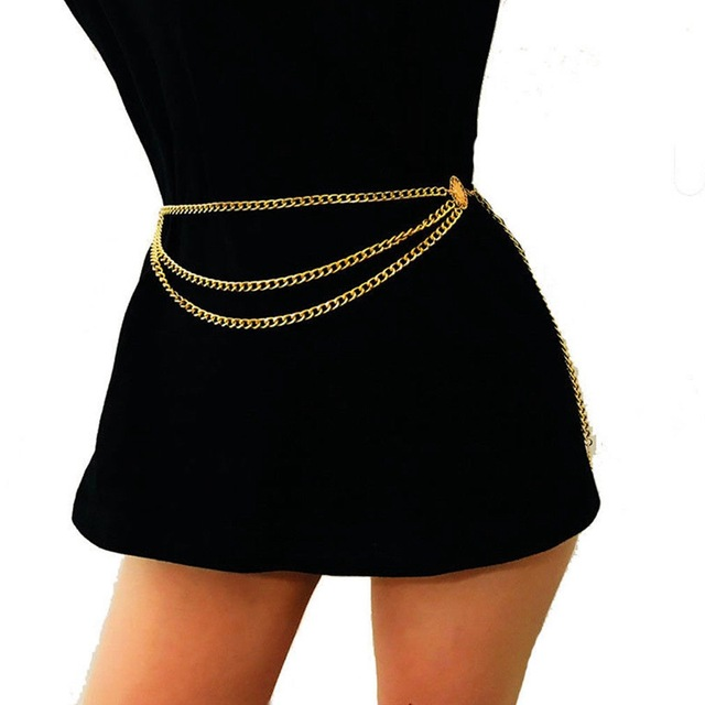 Women Belt Hip High Waist Gold Narrow Metal Chain Chunky Fringes
