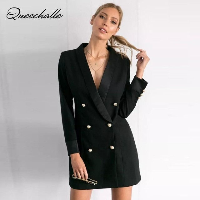 Queechalle Autumn Blazer Coat Female Formal Workwear Office Lady Solid Blazers Women's Double Breasted Notched Long Jacket Suit