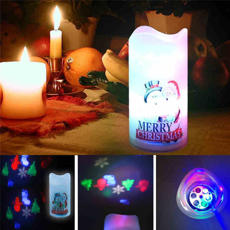 Led Candle Light Flameless Tea Light Multi-color Pattern Changing Christmas Projector Lamp For Party Evening Decoration