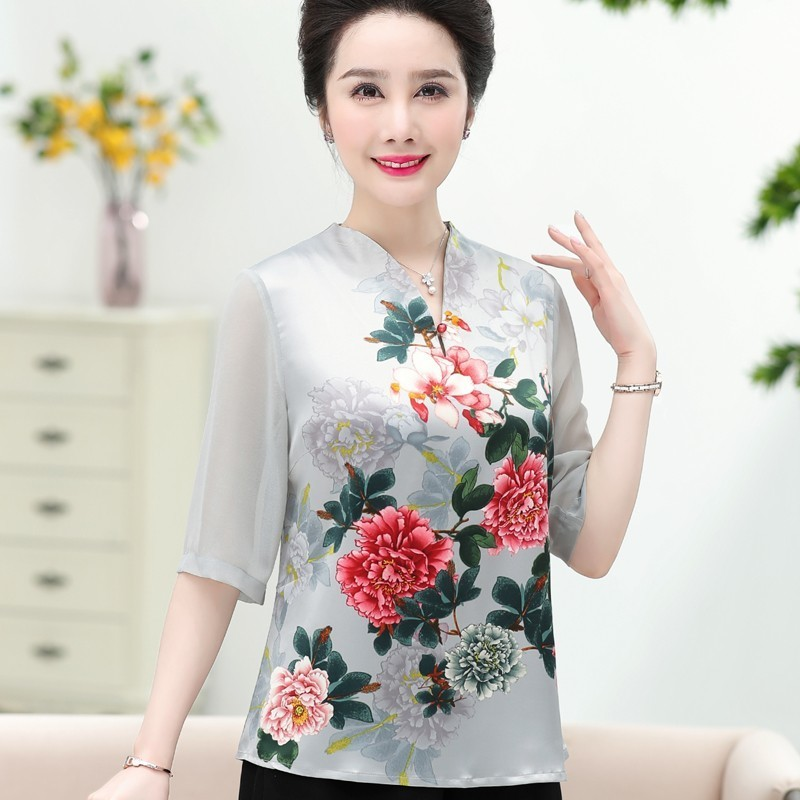 Spring Summer Middle Aged Women Plus Size Floral Print Half Sleeve Blouse V neck Tops Shirt Blusa Feminina in Blouses amp Shirts from Women 39 s Clothing