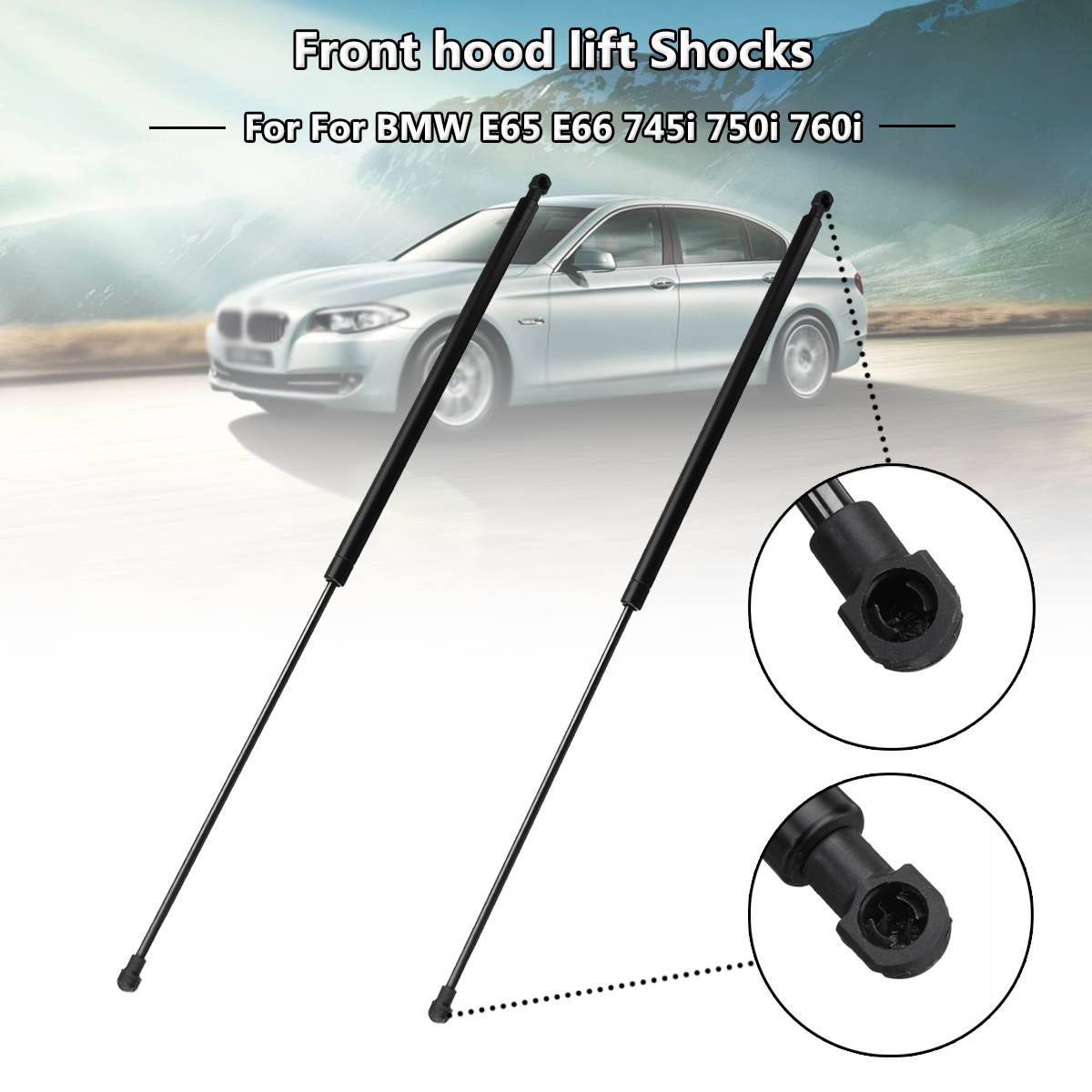 BOXI 2pcs Front Hood Gas Charged Lift Supports Struts Shocks Dampers For BMW E60 E61 5 Series SG402057,6481