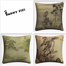 Traditional Chinese Landscape Decorative Cotton Linen Cushion Cover 45x45cm For Sofa Chair Pillowcase Home Decor Almofada