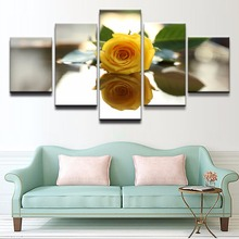 5 Panel Yellow Rose Flower Reflection Modular Pictures Home Decor Canvas Paintings on Wall Art and Print On The Draw