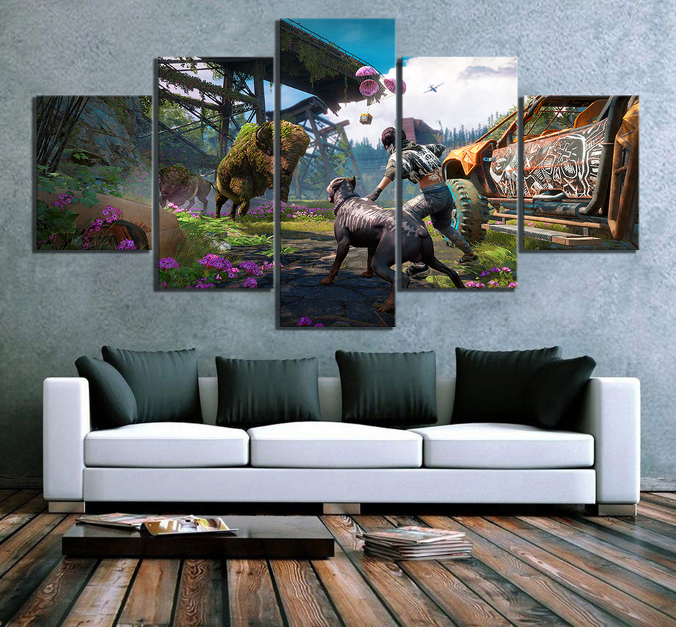 5 Piece Far Cry New Dawn Game Poster Hd Pictures Far Cry 5 Video Games Poster Artwork Canvas Paintings For Home Decor Wall Art Aliexpress