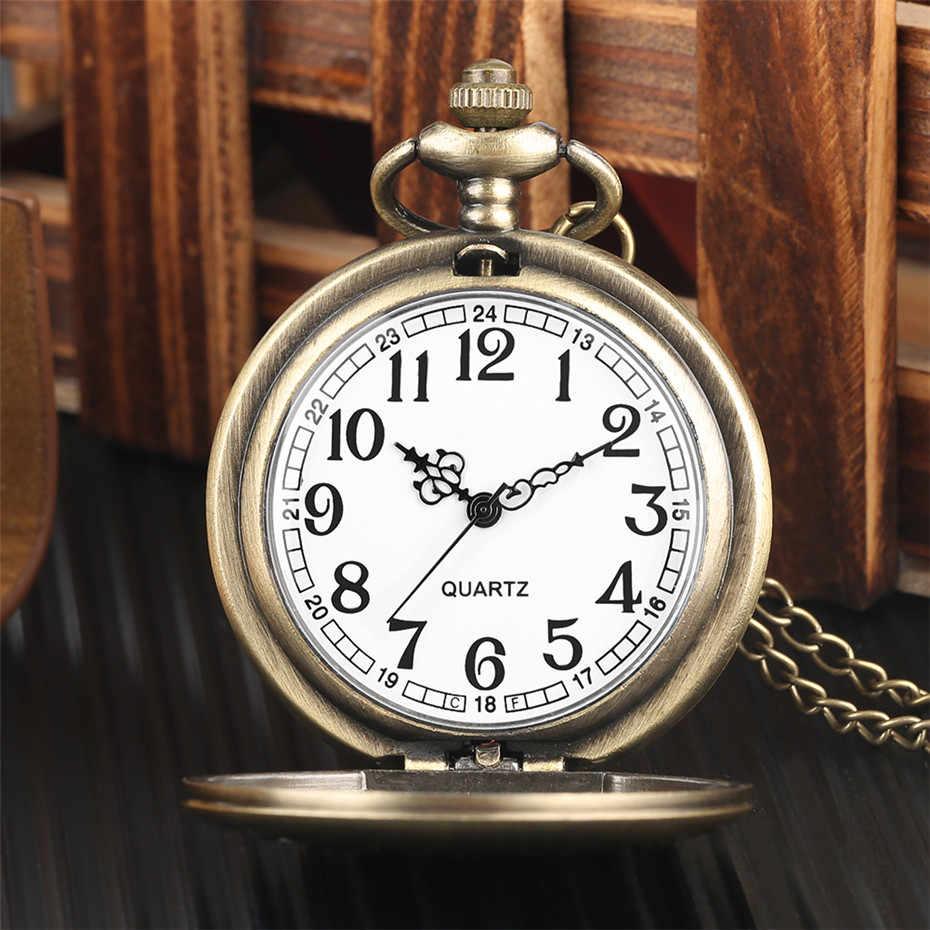 ברונזה תליון כיס שעון קוורץ רעה Spririt ארוך לשון עיצוב מלא האנטר שרשרת Fob שעון Steampunk שעון לגברים נשים