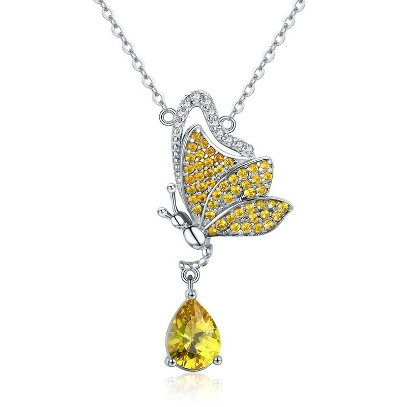 New Trendy 100% 925 Sterling Silver Sparkling Dancing Butterfly Pendant Necklaces Women Jewelry Scn241 BAMOER