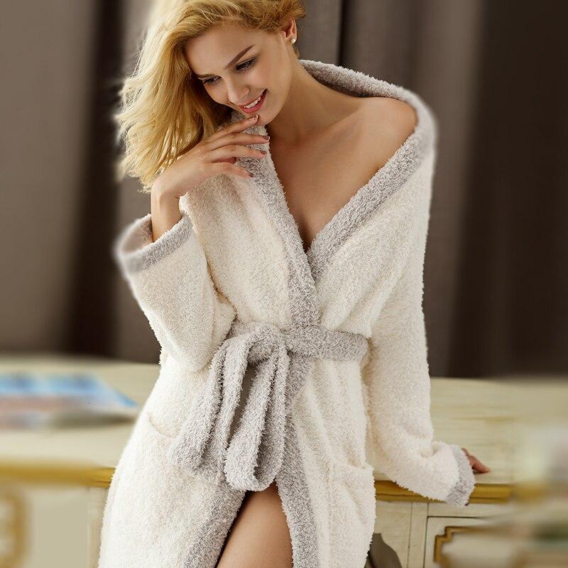 Microfiber Fleece Hooded Ultra Long Robes Loungewear female Sleepwear Plus Size Nightgowns dressing gown Bathrobe
