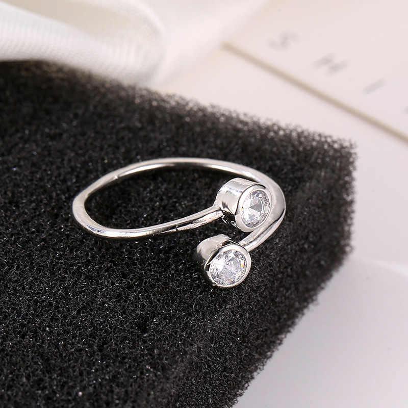 Mossovy คู่ Zircon Silver Alloy แหวนหมั้นสำหรับหญิงแฟชั่นแฟชั่น Rose Gold แหวนแต่งงานสำหรับเครื่องประดับสตรี