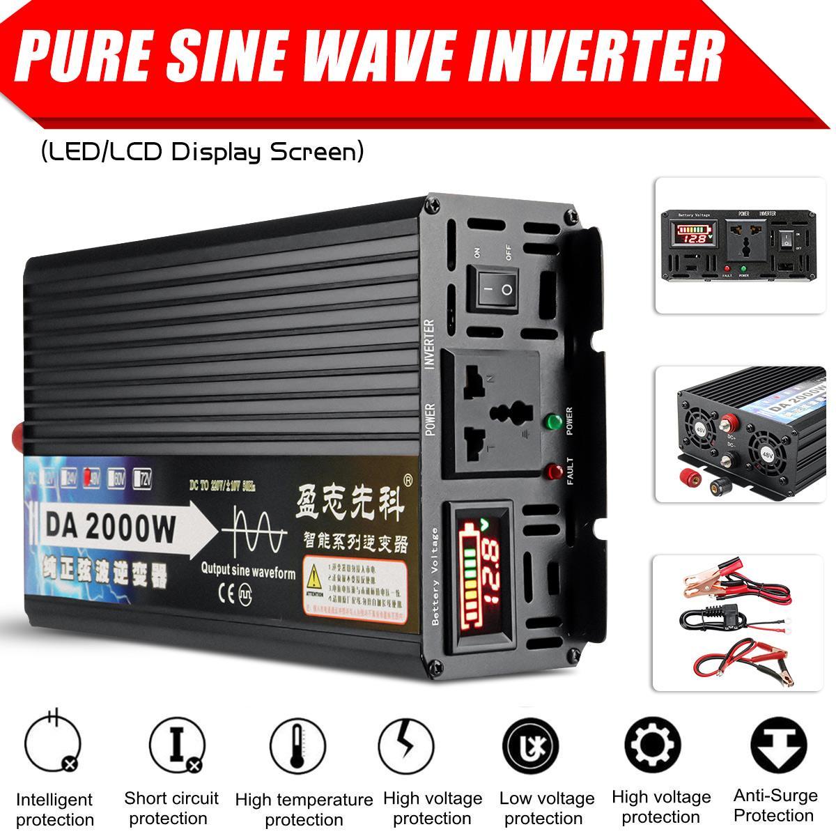 2000 W transformateur de tension pur onde sinusoïdale onduleur 12 V/24 V/48 V/60 V à 220 V LCD affichage convertisseur de tension