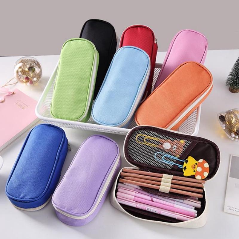 Solid Color Pencil Case School Pencil Case for Girls Boys Black Pencilcase Big Pencil Box Bag Kawaii School Supplies Stationery