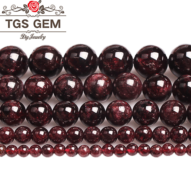 <font><b>Natural</b></font> <font><b>Stone</b></font> precious Garnet <font><b>Beads</b></font> <font><b>Natural</b></font> Gem Dark Red Round Smooth Loose <font><b>Beads</b></font> 4 6 8 10 12MM DIY Bracelet For Jewelry Making image
