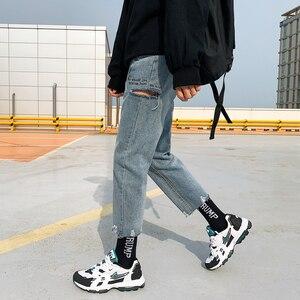 Image 2 - 2020 الكورية نمط الرجال استعادة ثقوب سراويل تقليدية المد فضفاض أوم الكلاسيكية غسل الجينز الضوء الأزرق اللون السائق سراويل جينز