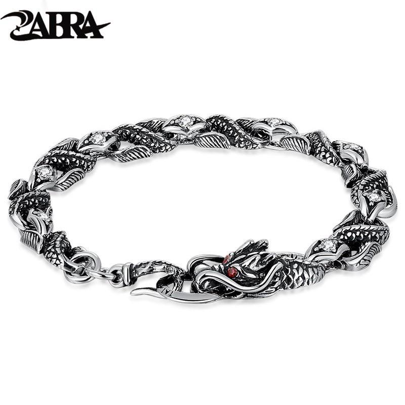 ZABRA Bracelet homme Dragon argent pour homme pierres Zircon blanc rouge 100% 925 argent Sterling Vintage Bracelets de motard hommes bijoux