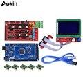 Комплект контроллера 3D принтера Mega 2560 R3 + ramps 1 4 + A4988 Драйвер шагового двигателя + ЖК-дисплей 12864 Графический смарт-дисплей Контроллер + адапте...