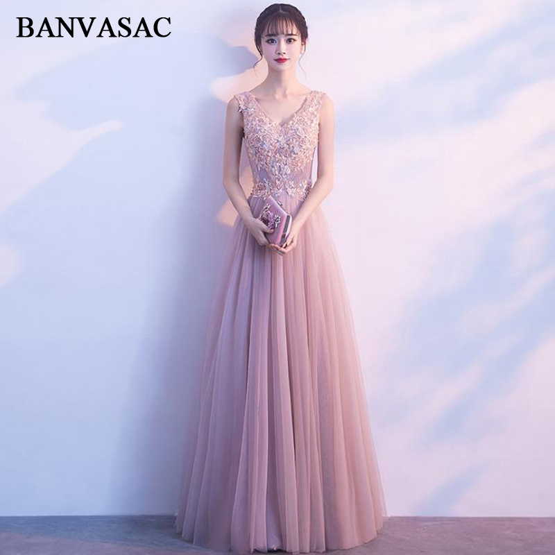 BANVASAC Sexy Deep V Neck Lace Flowers Appliques A Line Long Evening Dresses Elegant Tulle Backless Party Prom Gowns