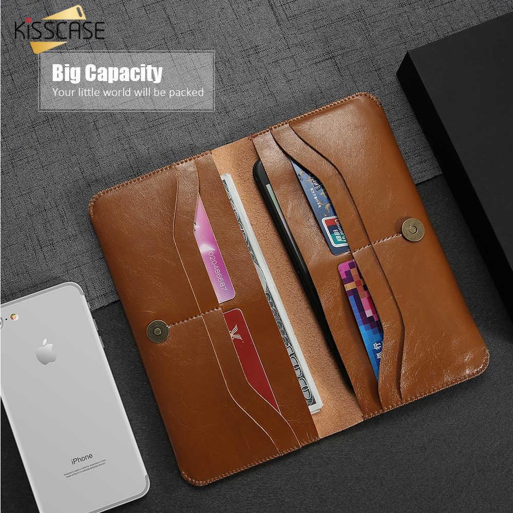 KISSCASE portfel skórzana torba etui na iPhone 7 XR wizytówki uchwyt na luksusowe etui z klapką dla iPhone 8 X XS MAX Plus Capa