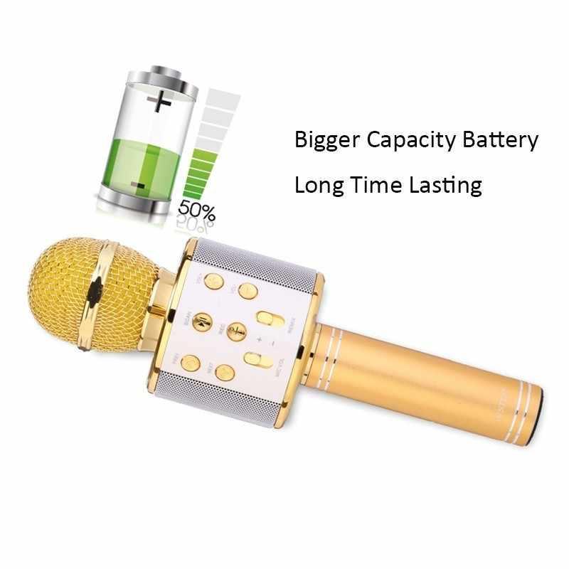 Micrófono inalámbrico WS 858 micrófono profesional de Karaoke condensador micrófono Wtih bolsa Bluetooth soporte Radio micrófono para grabación en estudio WS858