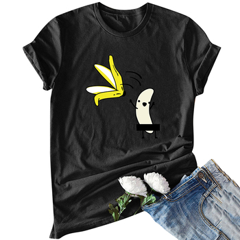 Casual Cotton Funny T-Shirt Women Naked Banana Cartoon Print Short Sleeve O-Neck T Shirt Women Cute Tee Shirt Femme Summer Tops 1