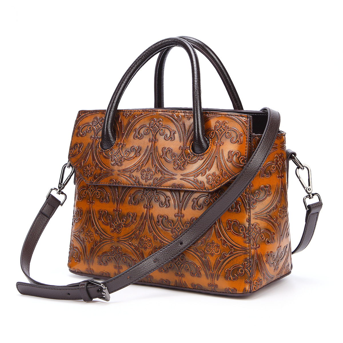 Real Cowhide Messenger Women Top Handle Bags Handbag Embossed Retro Cross Body High Quality Genuine Leather